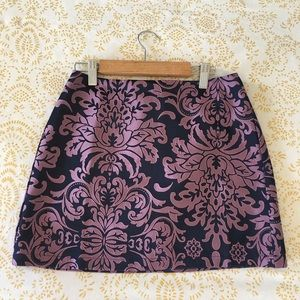 Blue Skirt with Purple Print